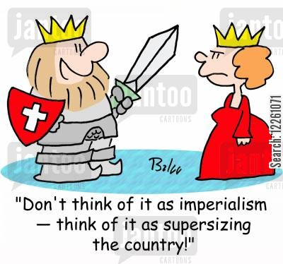 imperial cartoon humor: 'Don't think of it as imperialism -- think of it as supersizing the country!'