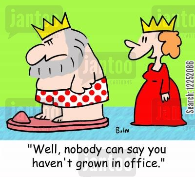 grown in office cartoon humor: 'Well, nobody can say you haven't grown in office.'