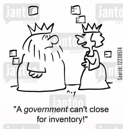 stocktaking cartoon humor: 'A government can't close for inventory!'