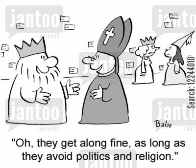 cardinals cartoon humor: 'Oh, they get along fine, as long as they avoid politics and religion.'