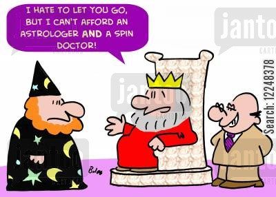 sorcerers cartoon humor: 'I hate to let you go, but I can't afford an astrologer AND a spin doctor.'