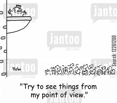 different opinion cartoon humor: 'Try to see things from my point of view.'