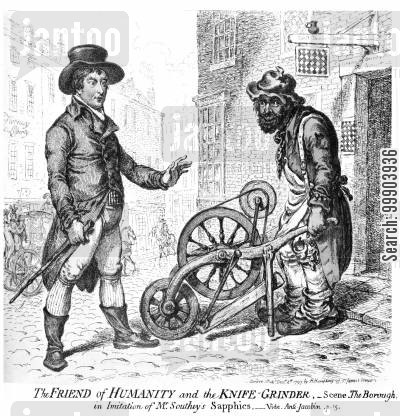 jacobinism cartoon humor: 'The Friend of Humanity and the Knife Grinder'