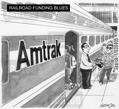 transportation subsidies cartoon humor: Railroad funding blues - Amtrak worker begging for money.