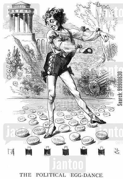political egg-dance cartoon humor: Disraeli's Reform Bill:'The Political Egg-Dance'
