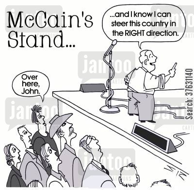 debate cartoon humor: McCain's Stand... -- '...and I know I can steer this country in the RIGHT direction.'