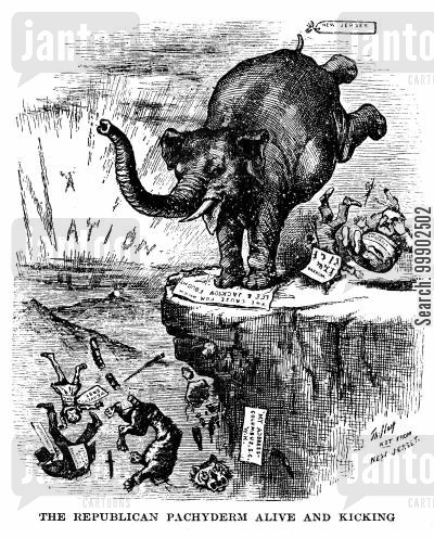 1880 election cartoon humor: 1880 Presidential Election - 'The Republican Pachyderm Alive and Kicking'