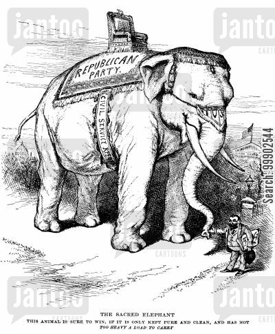 elephant cartoon humor: 1884 Presidential Election- 'The Sacred Elephant' of the Republican Party