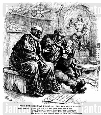 judge david davis cartoon humor: 1872 Presidential Election - Chief Justice Chase Admonishes Judge David Davis upon his Presidential Ambition