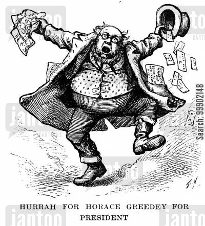 horace greeley cartoon humor: 'Hurrah for Horace Greedey for President'