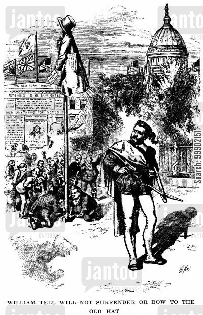 horace greeley cartoon humor: Ulysses S Grant as William Tell, Defiant against the Greely-Gratz Brown Presidential Bid