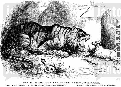 republican lamb cartoon humor: Amnesty Proposals of Jan 1876: The Democratic Tiger Remains Untamed