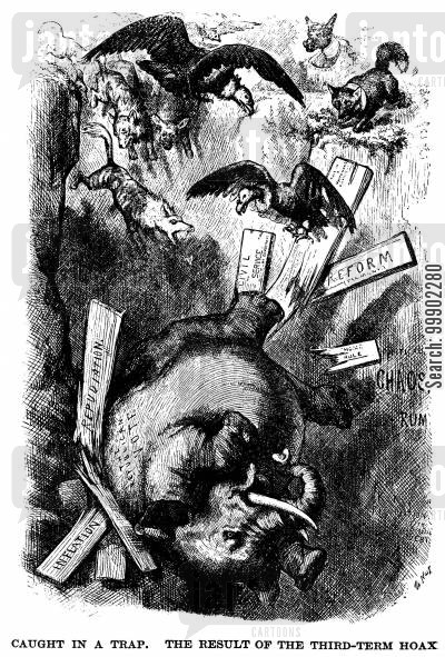 elections cartoon humor: Republicans Suffer Setbacks in 1874 Mid-Terms after being 'Caught in a Trap'