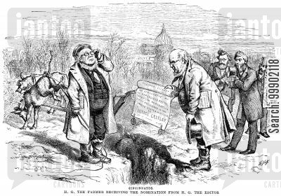 reuben fenton cartoon humor: Horace Greeley (NY Tribune Editor) Offers himself the Candidacy in the 1872 Presidential Election