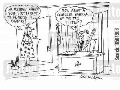post war cartoon humor: U.S. President decides to overhaul the tax system.