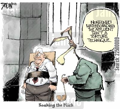 prisoner of war cartoon humor: Soaking the Rich.