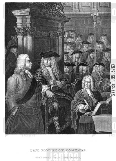 robert walpole cartoon humor: The House of Commons.