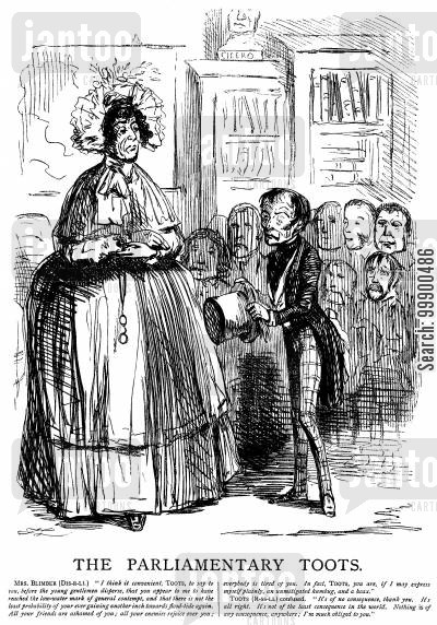 whig party cartoon humor: Disraeli Criticises Lord Russell's Government
