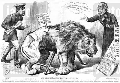 balkans cartoon humor: Gladstone's message that the British people would not support Turkey against Russia in the Balkans
