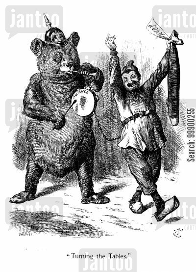 russophobia cartoon humor: Franco-Russian Alliance, 1891