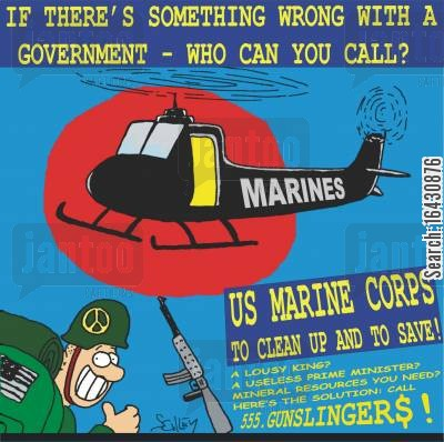 marines cartoon humor: 'If there's something wrong with a government...who can you call? - 555 GUNSLINGERS!'