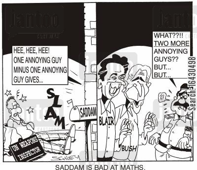 captive cartoon humor: Saddam is bad at Maths.
