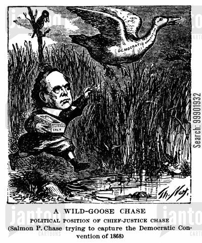 reconstruction era cartoon humor: Salmon P Chase and the 1868 Democratic Convention