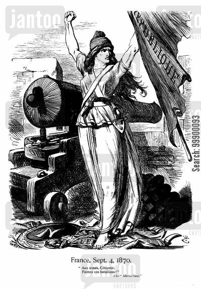 1870 revolution cartoon humor: Declaration of 3rd French Republic, 1870