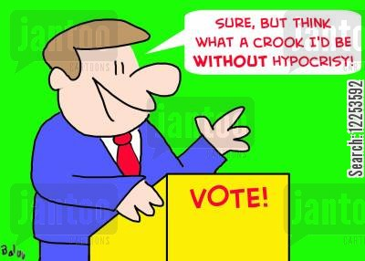 select cartoon humor: 'Sure, but think what a crook I'd be without hypocrisy!'