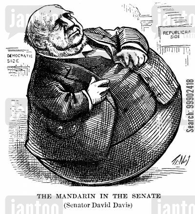 mandarin cartoon humor: Senator David Davis as 'The Mandarin in the Senate'