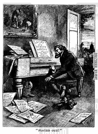 pianists cartoon humor: Carl Shurz's attacks on President Grant are 'Played Out'
