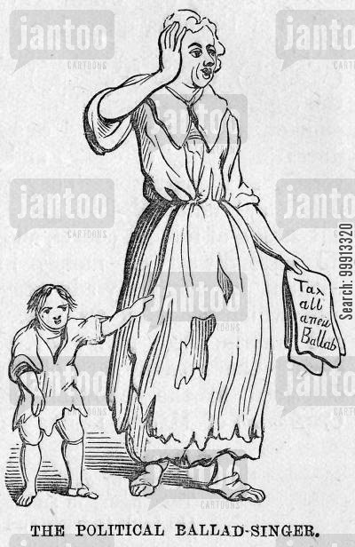 political ballad cartoon humor: A political ballad-singer c. 1730