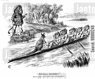 sir henry parkes cartoon humor: Parkes Proposes Australian Self Rule