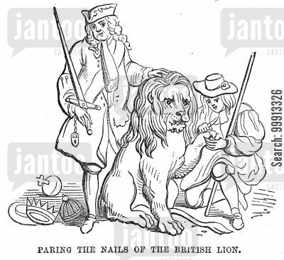 tame cartoon humor: Walpole keeping the British Lion tame whilst the Spaniard cuts his nails