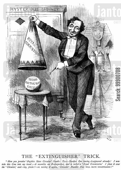 fugitive slave cartoon humor: Disraeli Refers Fugitive Slave Issue to a Royal Commission