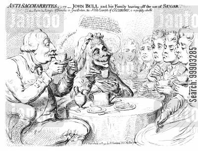 georgians cartoon humor: Abolition of Slavery- Sugar Boycott at St James's Palace
