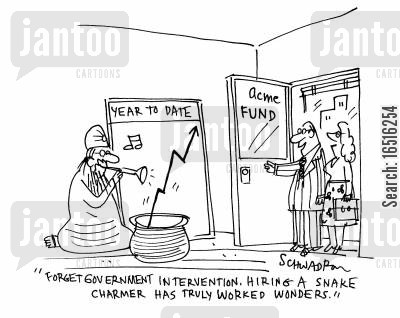 political solutions cartoon humor: 'Forget government intervention. Hire a snake charmer has truly worked wonders.'