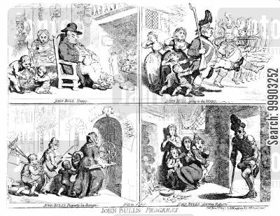 napoleonic wars cartoon humor: 'John Bull's Progress'- The Betrayal of the Patriotic English Soldier