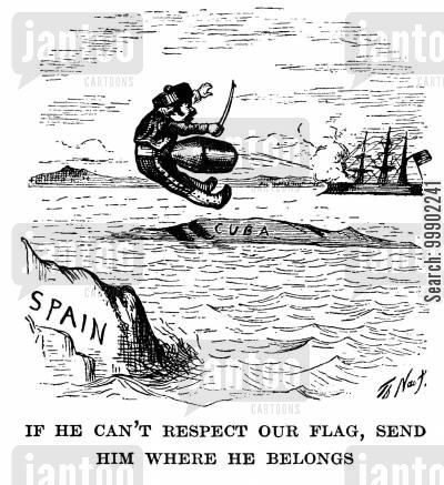 cuba cartoon humor: Anti-Spanish Cartoon, Following Massacre of 'Filibusters' on Board the Virginius