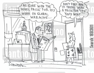 climate changing cartoon humor: 'Al Gore won the Nobel Prize for his work on Global Warming...' 'Don't feel bad. If there was a prize for 'spin' you'd win!'