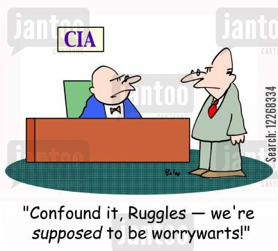 special agent cartoon humor: CIA, 'Confound it, Ruggles - we're SUPPOSED to be worrywarts!'