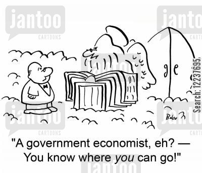 judgment day cartoon humor: 'A government economist, eh? -- You know where you can go!'