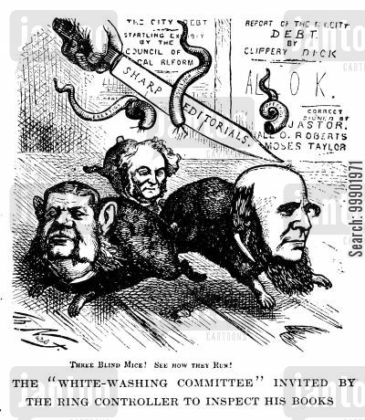 moses taylor cartoon humor: Criticism for the 'White-Washing Committee''s report on the 'ring's' accounts