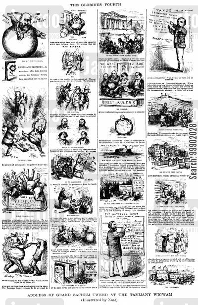 abraham oakey hall cartoon humor: New York Corruption - Various Tammany Abuses of Power Illustrated
