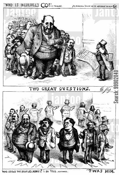 abraham oakey hall cartoon humor: New York Corruption- 'Two Great Questions' to be posed to the Tamany Ring