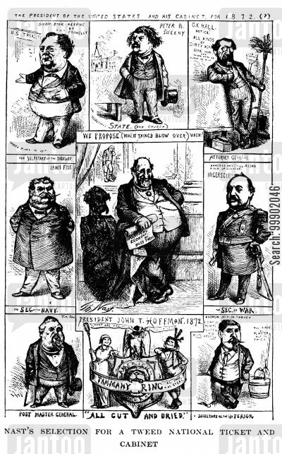 tammany cartoon humor: New York Corruption- The Tweed Ring's National Ticket and Cabinet for 1872