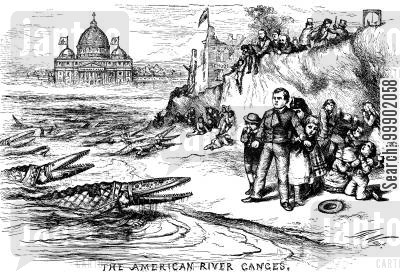 catholics cartoon humor: 'The American River Ganges' - Condemnatation of the Tammany Ring's Catholic Sectarianism