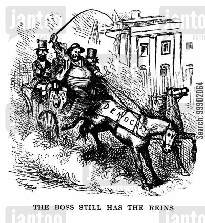 tammany cartoon humor: New York Corruption- Boss Tweed Still Holds the Reins of the Democrat Party prior to the Election