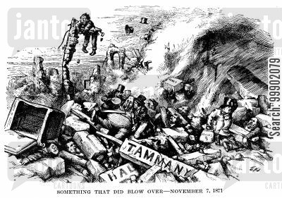abraham oakey hall cartoon humor: The Tammany Ring Defeated - 'Something that Did Blow Over'