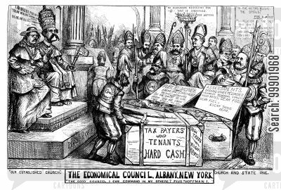 irish americans cartoon humor: New York Corruption - 'The Economical Council'